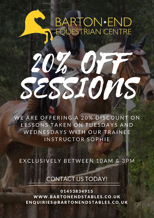 20% discount on riding lessons taken on tuesdays and thursdays